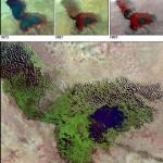 Evolution du lac Tchad, entre 1973 et 2001 (NASA)